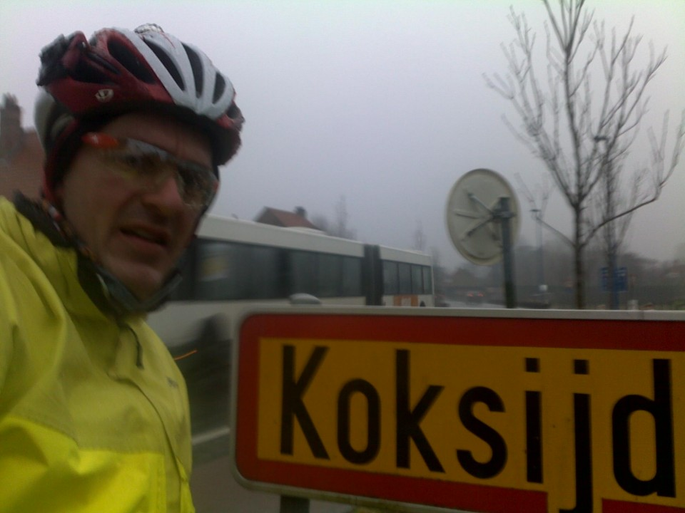 Vin Cox at Koksijde, Flanders, Belgium during Guinness World Record ride around the world.