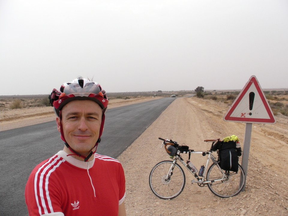 Vin Cox in Tunisia shortly before a sandstorm.