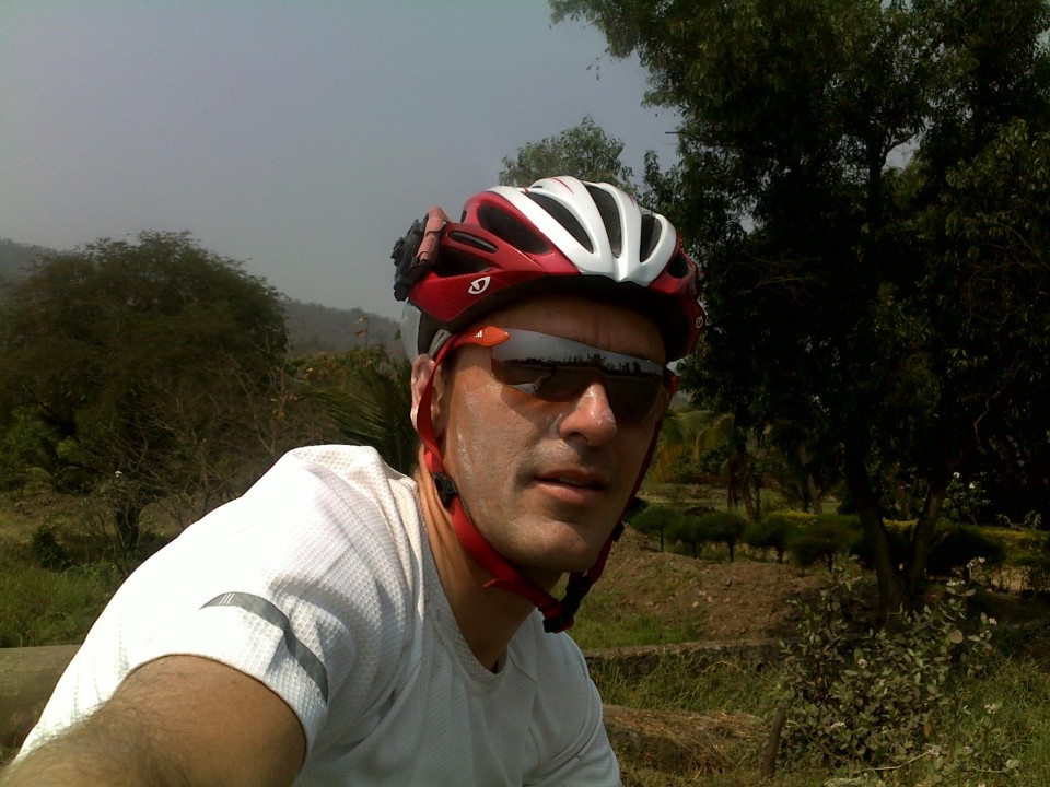 Vin Cox, just north of Mumbai, happy to see the countryside.