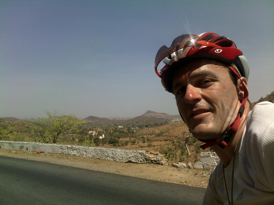 Vin Cox on a hot climb in Rajasthan, India.