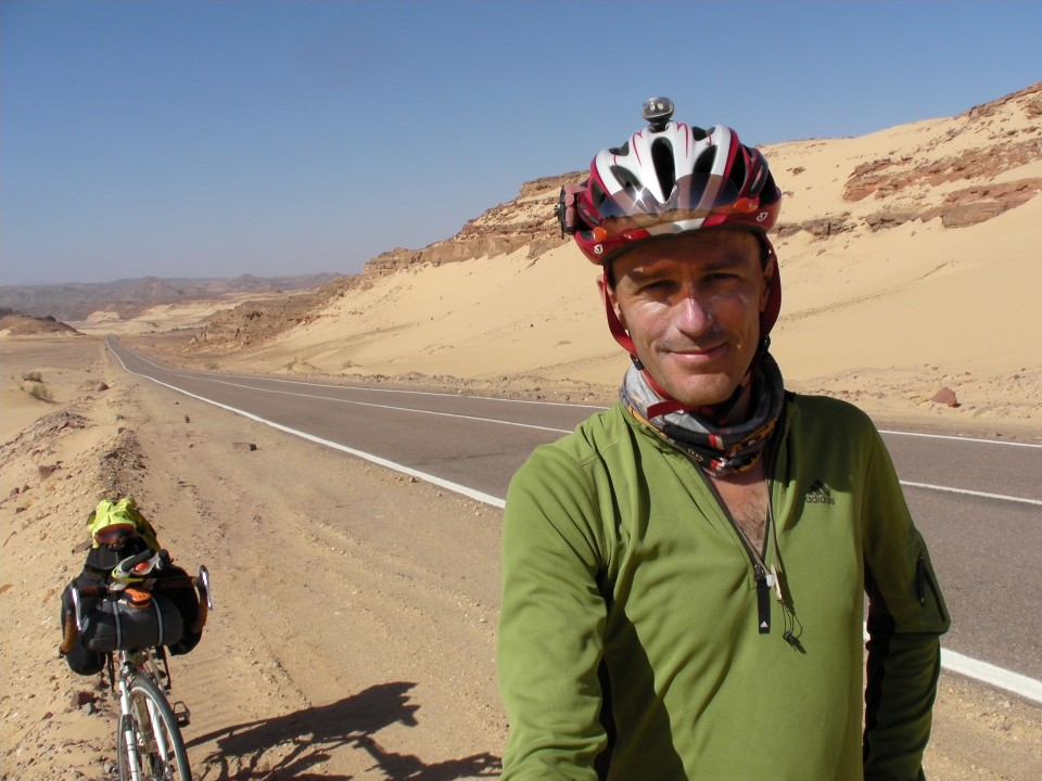 Vin Cox in the Sinai desert, Egypt.