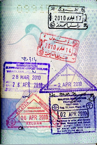 Vin Cox's passport stamped for Thailand.