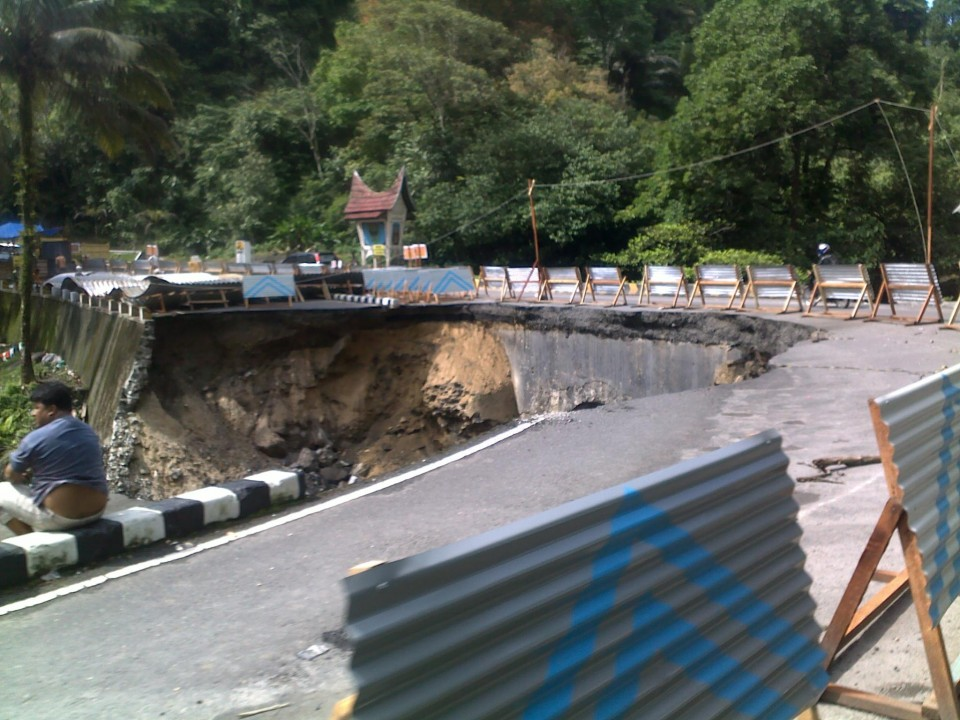 Earthquake damaged road in Sumatra.