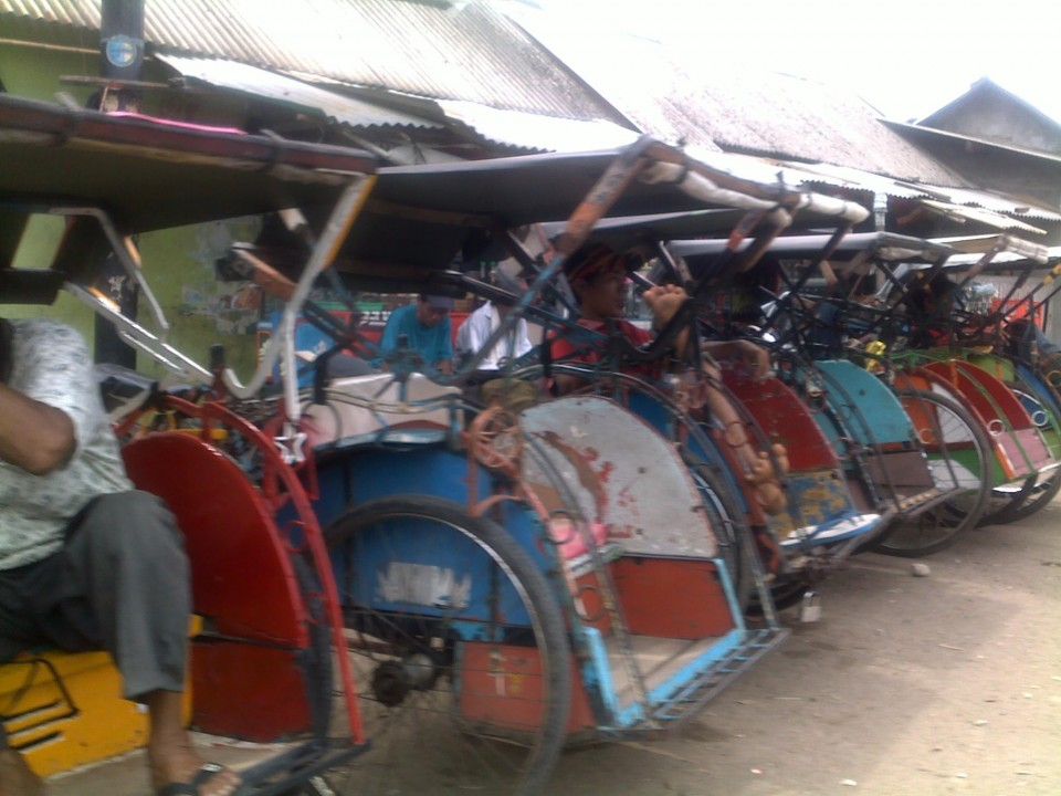 I was encouraged to see these bicycle rickshaws lined up - for a race I thought?